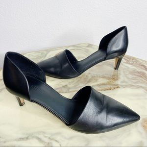 Vince Aurelian D'orsay Pointed Kitten Heels Black